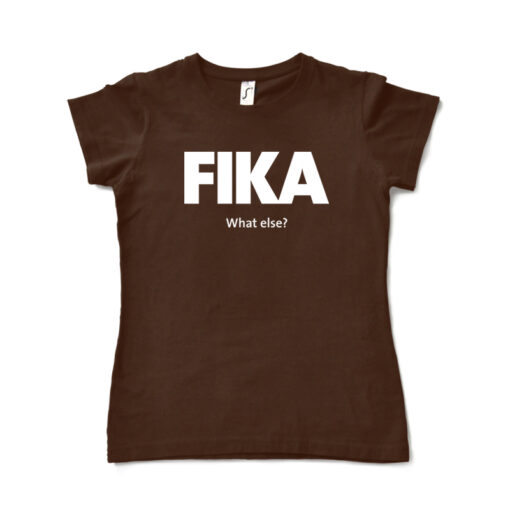 brown chocolate woman fika t-shirt