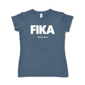 blue denim woman fika t-shirt