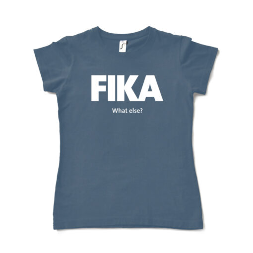 blue denim woman fika t-shirt