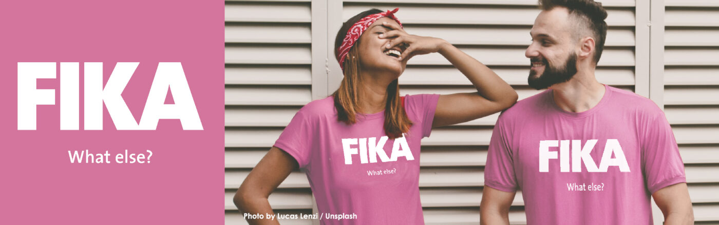 Couple with the pink Fika t-shirts
